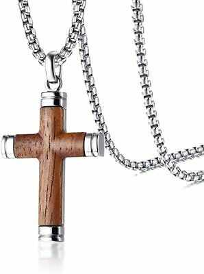 $15.68 • Buy Necklace Jewelry Mens Stainless Steel Wood Cross Pendant For Christian Baptism