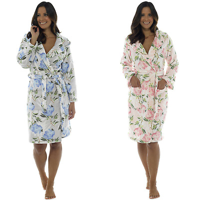 £17.86 • Buy Wolf & Harte Womens Floral Print Hooded Fleece Dressing Gown