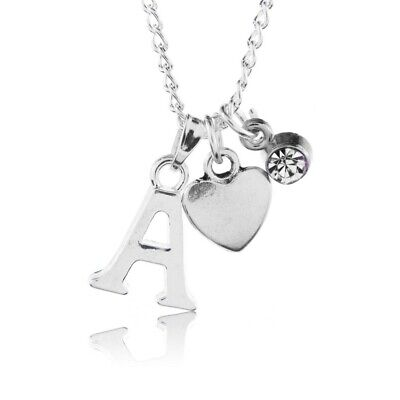 £3.50 • Buy Birthstone Heart Necklace April Silver Plated Initial Letter Alphabet A-Z 18