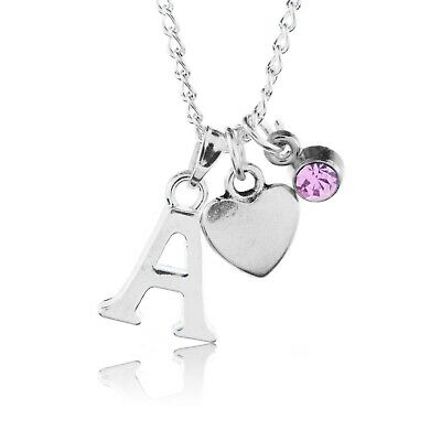 £3.50 • Buy Birthstone Heart Necklace June Silver Plated Initial Letter Alphabet A-Z 18