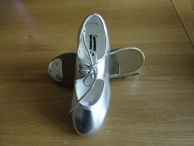 New - Silver Pu Tap Dance Shoes Toe Taps Only Low Heel Girls Uk Size 1 • 9.99£