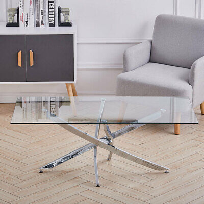 Rectangle Clear Glass Coffee Table With Cross Chrome Leg Living Room Furniture • 105.95£