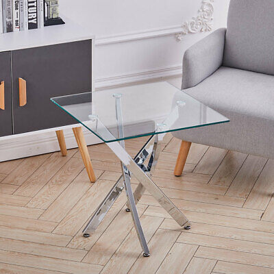 Clear Glass Sofa Side End Table Small Coffee Table Chrome Cross Legs Living Room • 79.95£