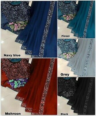 Saree Indian Wear Wedding Designer Georgette With Sequence Work Lace Border MA • 20.99£