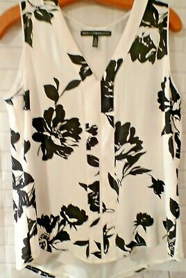 $ CDN19.02 • Buy Size 6 White House Black Market Sleeveless Floral Lined Top Flowing V Neck