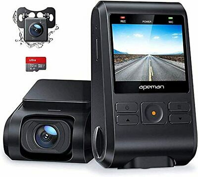 AU128.96 • Buy APEMAN Dash Cam, Front And Rear Camera For Cars 1080P, SD Card Included