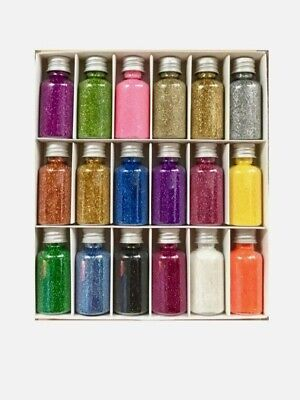 18x Multi Coloured Glitter Bottles BOX Set 18Pcs Mini Glitter Bottles Art&Craft  • 14£