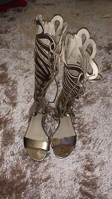 Womens Missguided Gold Gladiator Sandals Size Uk3 • 11£