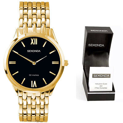Sekonda Mens Gents Dress Watch Gold Plated Classic Bracelet With Black Dial • 35.95£