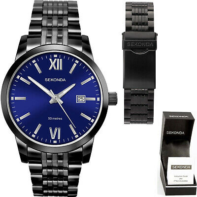 Sekonda Mens Gents Watch Black Ion Plated Blue Dial With Date Water Resistant • 35.95£