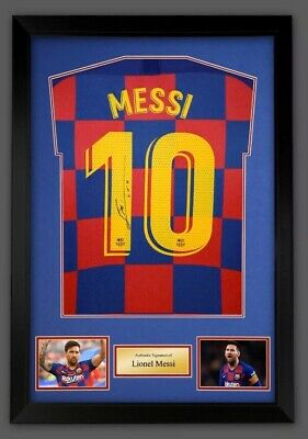 AU1083.52 • Buy Lionel Messi Hand Signed Framed Barcelona Football Home Shirt Jersey & COA