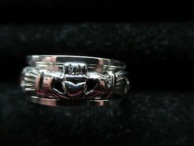 £31.86 • Buy Sterling Silver Claddagh Ring With Spin Band Center Mens Size 10