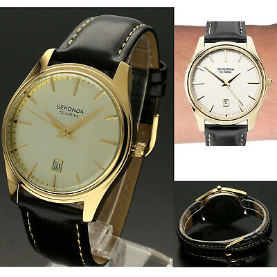 Sekonda Mens Gents Classic Watch Black Leather Strap & White Dial With Date • 32.95£