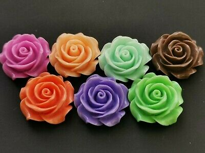 Large Resin Rose Cabochon Flatback  35 Mm Various Colours Pack Of 2 • 1.20£