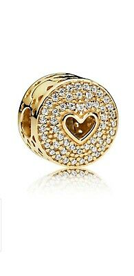 New Authentic PANDORA Heart Clip Charm 14k Gold 104 Bead Set Cubic Zirconia G585 • 270£