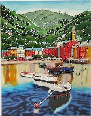 £34.99 • Buy  11x14 Inch FISHING BOATS Ceramic Wall Art Plaque / Tile Picture