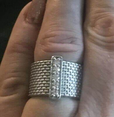 Ladies Sterling Silver And Cubic Zircona Woven Look Thick Band Ring Size M • 12.50£