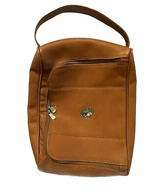 Links & Kings Tan Leather Golf Shoe Travel Bag Embroidered Cabin & Water Wheel  • 78.68£