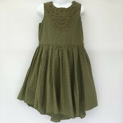 Girls Green Khaki Low High Hem Summer Dress Age 7 Years Missing Belt • 5£