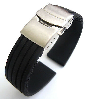 20mm Silicone Rubber Watch Strap Black On Deployment Buckle  • 8£