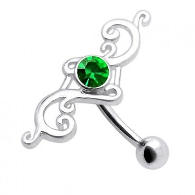 £9.95 • Buy Silver Reverse Belly Bar Green Jewelled Inverted Top Drop Navel Ring