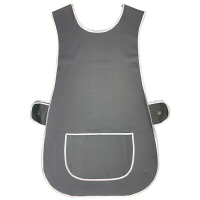 Ladies Tabard Apron Kitchen Overall Catering Tabbard Cleaning Pocket Plus Grey • 6.50£