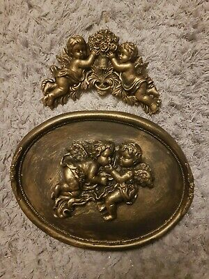 £26 • Buy 2 Architectural Oval Cherub Angel Ornate Plaster Wall Plaques Bronzed Mouldings