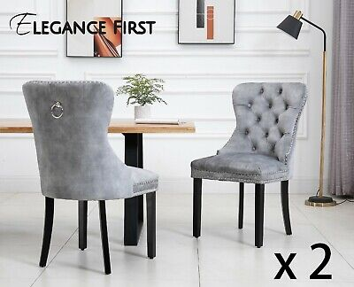 AU349 • Buy 2 X Silver French Provincial Fabric Dining Chairs Upholstered Tufted Back Studs