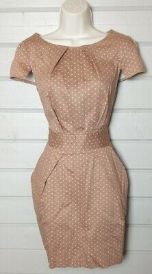 CLOSET Pink Brown Polka Dot Spotted Dress 12 Tulip Skirt Party Work Office  • 9.99£