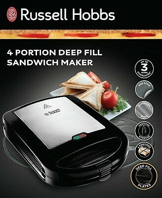 £37.89 • Buy Russell Hobbs Deep Fill 4 Toasted Sandwich Tostie Maker Toaster Non Stick, 24550