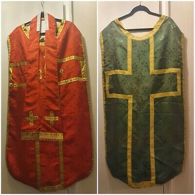 £135 • Buy Handmade Red Chasuble & Stole Set And Green Chasuble. Lined.