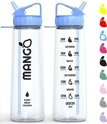 Mango Motivational Water Bottle With Straw And Times To Drink [900ml/32oz] - BPA • 16.89£