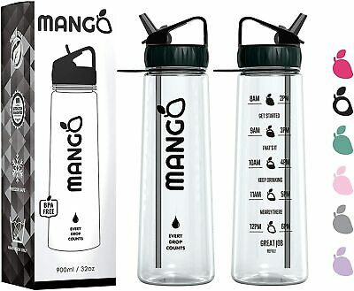 Mango Motivational Water Bottle With Straw And Times To Drink [900ml/32oz] - BPA • 14.29£