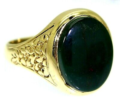 £371.25 • Buy Vintage Bloodstone Floral 9ct Yellow Gold Signet Ring Size R 1/2 ~ 9