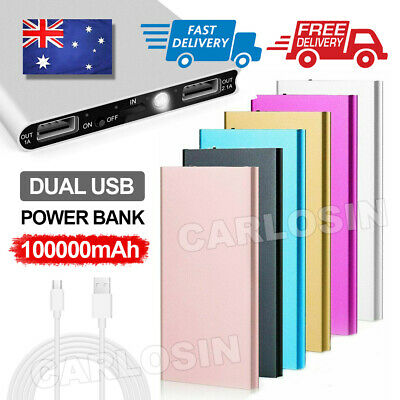 AU16.85 • Buy 100000mAh 2 USB Portable Slim LCD Power Bank External Battery Charger For Phone