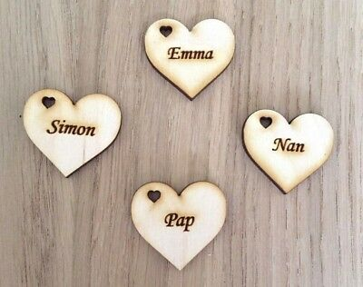 £1.69 • Buy Engraved Wooden Hearts Personalised With Names 3cm