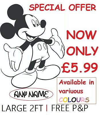 Large Personalised Mickey Mouse Wall Stickers Kids Wall Art Decal Bedroom • 5.99£