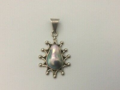$60 • Buy Sterling Silver 925 Blue-pink Mabe Pearl Blister Pearl Pendant