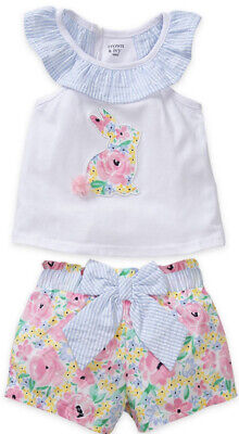 £23.97 • Buy Crown & Ivy Baby Girls Easter Bunny Floral Print 2-Piece Short Set 3mths NWT