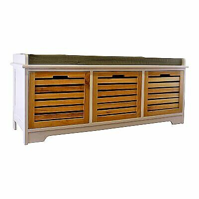 3 Drawer White & Natural Wooden Storage Unit Bench Seat Shabby Chic Drawers • 115.99£