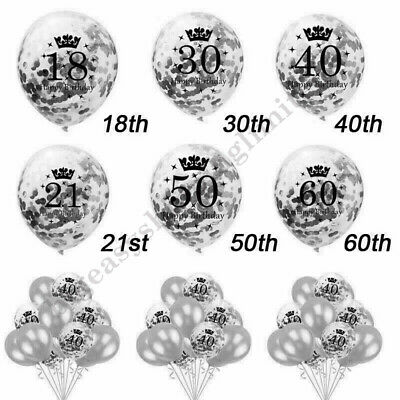£2.99 • Buy Silver Age Birthday Balloons 16th 18th 21st 30th 40th Birthday Decorations UK