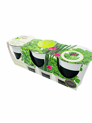 £10.99 • Buy Set Of 3 Indoor Trio Basil Chives Parsley Seeds Compost Grow Your Own Herbs Pots
