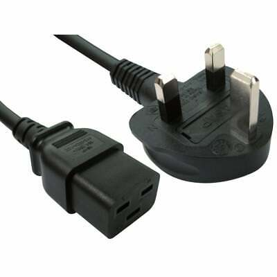 IEC C19 16A UPS / Server Power Lead Cable, C19 Socket To UK Mains Plug, 2M • 10.99£
