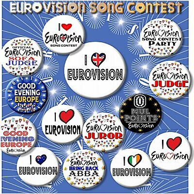 £12.99 • Buy EUROVISION SONG CONTEST PARTY BADGES/ Set Of 14 Badges ~ 55 MM/ 2.2