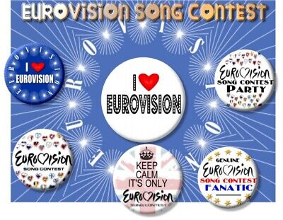 £9.99 • Buy EUROVISION SONG CONTEST PARTY BADGES/ Set Of 6 Badges ~ 55 MM/ 2.2