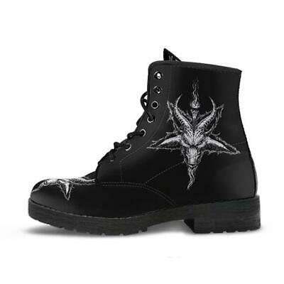 £42.58 • Buy Satanic Pentagram Demon Goat Handcrafted Leather Boots Black And White