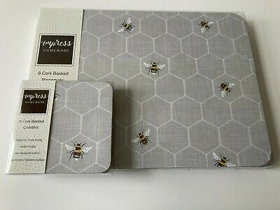 £18.99 • Buy Set Of 6 Grey Bumble Bee Placemats & Coasters Dining Dinner Table Mats Honey