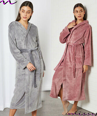 £18.99 • Buy **NEW** LADIES SOFT & COSY HOODED SHIMMER FLEECE DRESSING GOWN ROBE Sizes 8 - 22