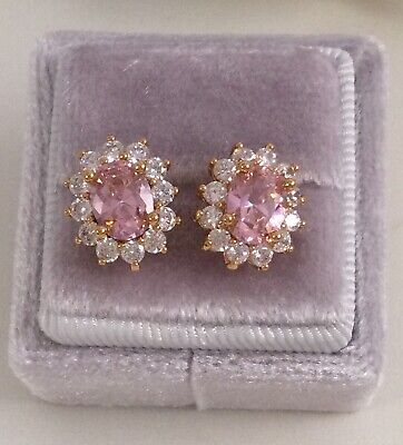 AU195 • Buy Vintage Jewellery Gold Earrings Pink And White Sapphires Antique Deco Jewelry