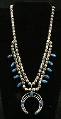 $ CDN545.53 • Buy Native American Sterling Silver & Denim Lapis Squash Blossom Necklace